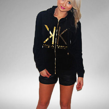 Kardashian Kollection Velour Hoodie Black