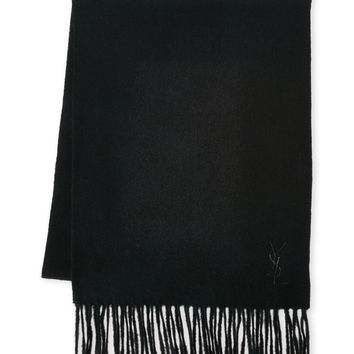 Yves Saint Laurent Women's Embroidered Logo Scarf Black/Black One Size