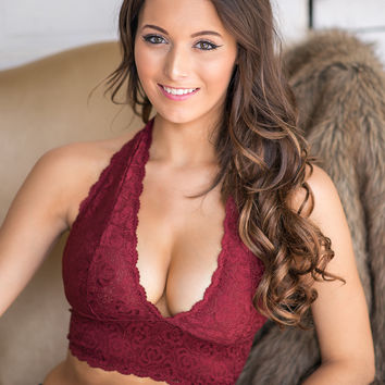 New Romantics Halter Lace Bralette (Burgundy)