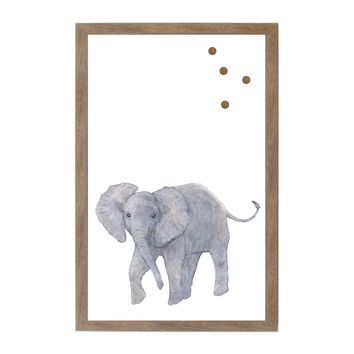Baby Jungle Animals Elephant Rustic Brown Frame