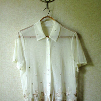 Lace Blouse sheer blouse see through top ivory beige short sleeve button front collar embroidered vintage 80s 90s 50s style medium large