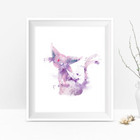 Pokemon Espeon Print Watercolor Pokemon Go Pokemon Art Birthday Gift Pokemon Print Anime Pokemon Gift Gaming Wall Art instant Download