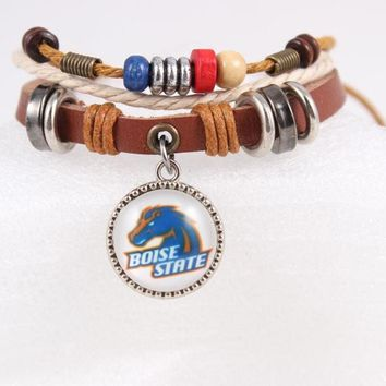 NCAA Jewelry Boise State Broncos Genuine Leather Bracelet Adjustable Cuff Bracelets & Bangles With Pendant for Fans 6pcs/lot