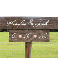 Rustic Wooden Wedding Signs Set of 2 - Two Tier Set - Custom Made For You