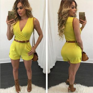 Womens Stylish Deep V Urban Romper