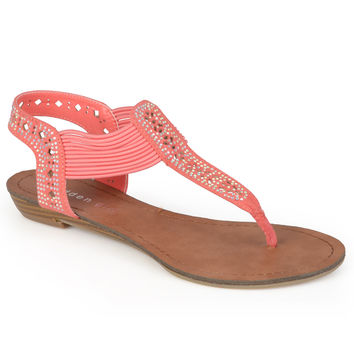 Madden Girl by Steve Madden Women's 'Taahnee' Embellished T-strap Sandals | Overstock.com Shopping - The Best Deals on Sandals
