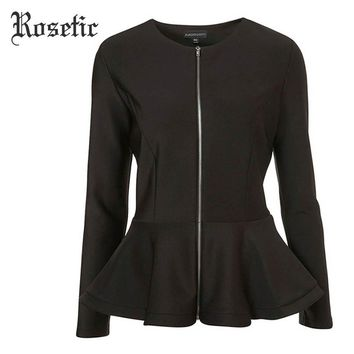 Rosetic Gothic Style Black Patchwork Ruffles Long Sleeve 2017 Autumn Women Office Slim Jackets