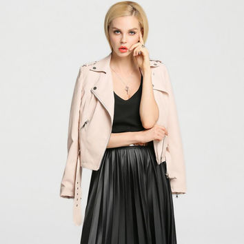 Turn-down Collar Faux Leather Zipper Jacket