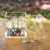 Monogrammed Woodland Personalized Lucite Wedding Ring Box
