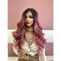 "Pink Brown Ombre Lace Front Wig 22"" 219 