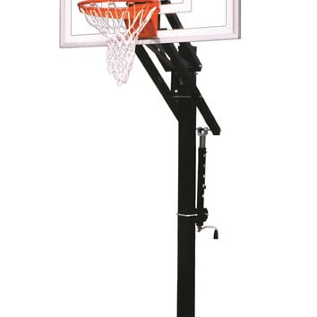 First Team Jam Turbo In Ground Outdoor Adjustable Basketball Hoop 54 inch Tempered Glass