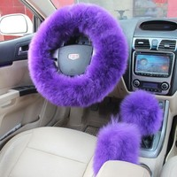 3Pcs Plush Fuzzy Steering Wheel Cover Purple Wool Handbrake Car Accessory # Gift
