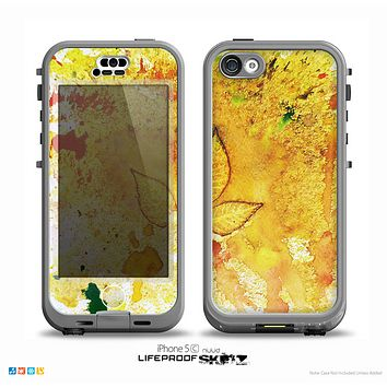 The Yellow Lace and Flower on Teal Skin for the iPhone 5c nüüd LifeProof Case