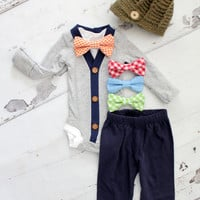 Newborn Baby Boy Coming Home Outfit Set up to 4 Items. Cardigan Bodysuit, Bow Tie Bodysuit, Navy Blue Pants & Knit Newsboy Hat. Easter Tie