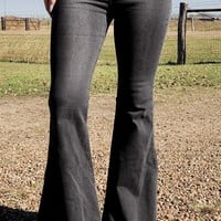 Black Denim Super Flare Jeans
