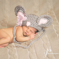 Grey Mouse Hat, Bonnet,Photo Props, Photography Props, Mouse, Mouse Hat, Newborn Mouse Hat, Farm, Country, Country Mouse Hat, Beanie, Outfit
