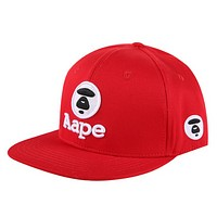 Bape Aape Fashion New Embroidery Letter Pattern Camouflage Sun Protection Women Men Cap Hat Red
