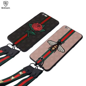 Birdroom Case For iPhone 8 7 6 6S Plus Soft TPU Fundas Vintage 3D Relief Panting Cover For iPhone X 10 Funda Coque +2Pcs Lanyard