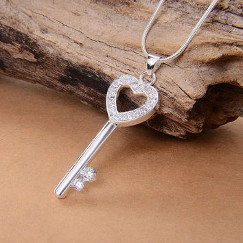 Key to My Heart Sterling Silver Pendant Necklace