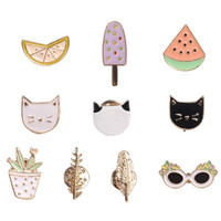 Hot Women Fashion Lovely Harajuku Style Fruit Cat Sunglass Leaf Pot Ice cream Watermelon Orange Brooch Pin