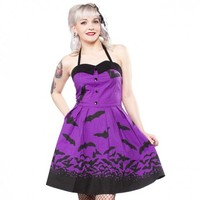 Sourpuss Spooksville Bat Dress - Purple | Gothic Vintage Inspired