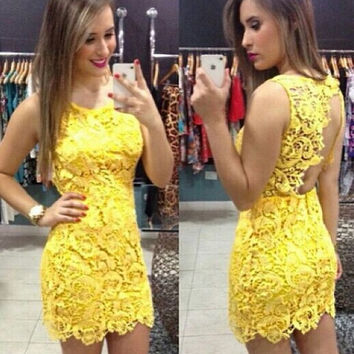 Yellow Sleeveless Backless Crochet Bodycon Mini Dress