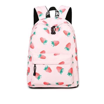 Pink Strawberry Canvas Lightweight Sturdy Roomy Pattern Backpack School Bag Travel Daypack