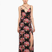 Black Floral Spaghetti Strap Criss-Cross Front Maxi Dress With Slit
