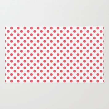 Coral Pink Polka Dots Area & Throw Rug by Inspired By Fashion