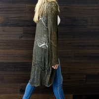 Olive-Green-Open-Knit-Long-Cardigan