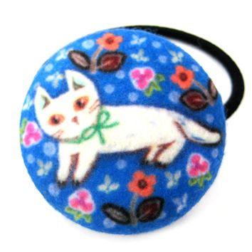 White Kitty Cat with Floral Print Button Hair Tie Pony Tail Holder in Blue Felt
