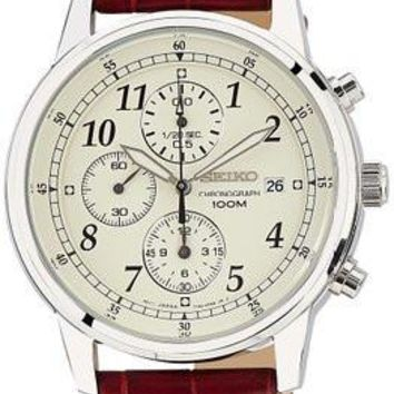 Seiko Men's Classic Chronograph Watch with Brown Leather Band
