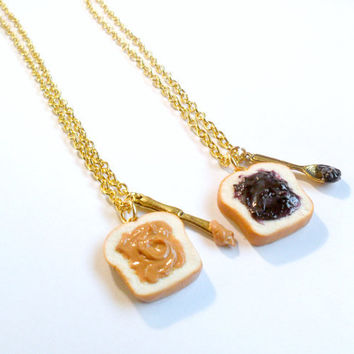 Peanut Butter Jelly Necklace Set, Best Friend's BFF Necklace, Gold Plated, Cute :D