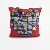 "13"" Heart Custom Photo Pillow with 32 Photos, Gift for Couples, Anniversaries, Weddings, Travel, Homesickness Cure, Gift for Her"