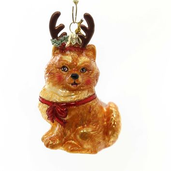 Holiday Ornaments Dog With Antlers Ornament Glass Ornament