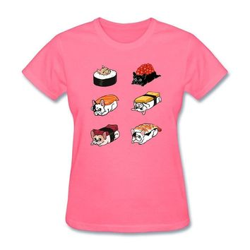 Frenchie Sushi Women Homme T-Shirt  All Soul's Day Printed t-shirts Girlfriend's Costumes Screw Neck