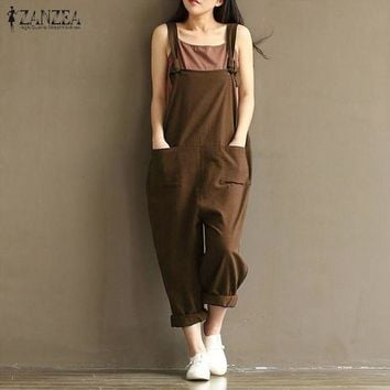 DCCKFV3 2017 ZANZEA Rompers Womens Jumpsuits Casual Vintage Sleeveless Backless Casual Loose Solid Overalls Strapless Paysuits Plus Size