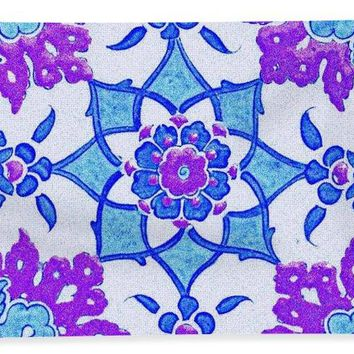 An Ottoman Iznik Style Floral Design Pottery Polychrome, By Adam Asar, No 13i - Bath Towel