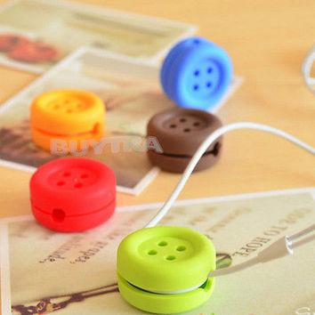 Button Cable Cord Wire Organizer Bobbin Winder For Headphone Earphone LS S1