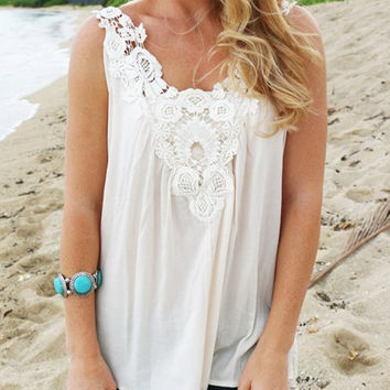 White V-Neck Sleeveless Lace Cut Out Tank Top