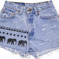 Tribal Aztec Elephant Waves Shorts Hand Painted Vintage Distressed High Waisted Denim Boho Hipster Levi Extra Small XS Small W24