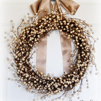 Champagne Berry Wreath, Front Door Wreath, Fall Wreath, Winter Wreath, Holiday Wreath, Christmas Wreath, Neutral Wreath, Pearl Wreath