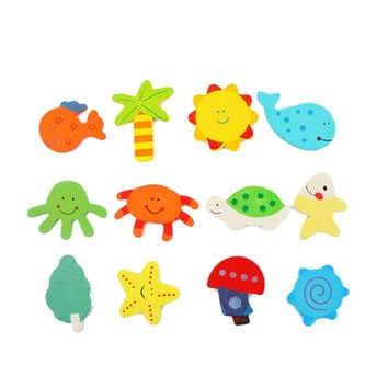 Hight Quality 12 pcs set Child Educational Toy Colorful Kids Baby Wood Cartoon Fridge Magnet