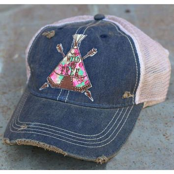 Wild Rose Destroyed Trucker Caps ~ Teepee