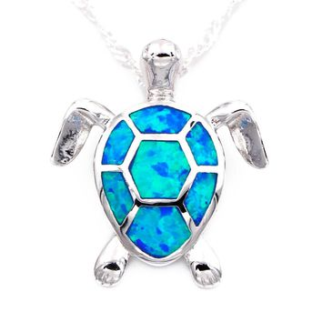 Blue Fire Opal Sea Turtle Pendant Necklace