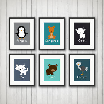 Animal Decor - Animal Prints, Nursery Decor, Kids Bedroom Decor, Baby Girl Nursery, Baby Boy Nursery, Kids Room Decor, Nursery Art