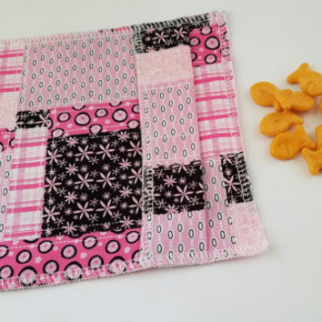 Snack Bag, Snack Pouch, Bag, Pouch - Pink Fabric