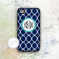Monogram preppy navy blue iphone 4 in case personalized hard covers