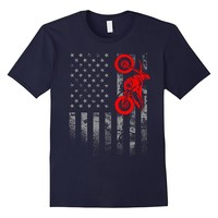 American Flag Motocross Bike Dirtbiking Off Road Tshirt