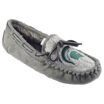 Michigan State Spartans Women's Sweater Vamp Moccasins – Gray